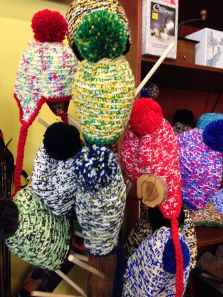 Hand knit toques at Bolacco Cafe / Photo by Toque & Canoe
