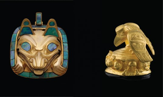 Wolf Pendant and The Raven and the First Men / Artist: Bill Reid / Image courtesy of the Bill Reid Gallery of Northwest Coast Art / Photo: Kenji Nagai